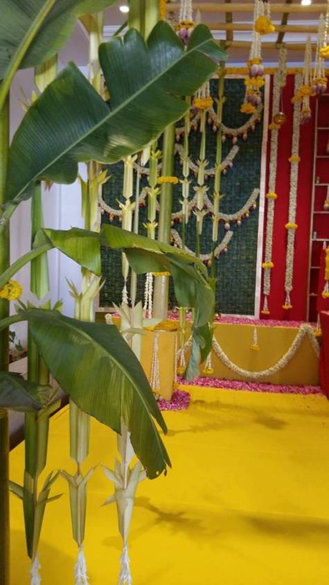 Green and yellow themed wedding decor