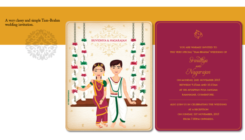 A caricatured Tam-brahmin wedding card