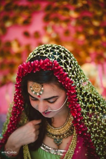 Ghoongat weaved in jasmines