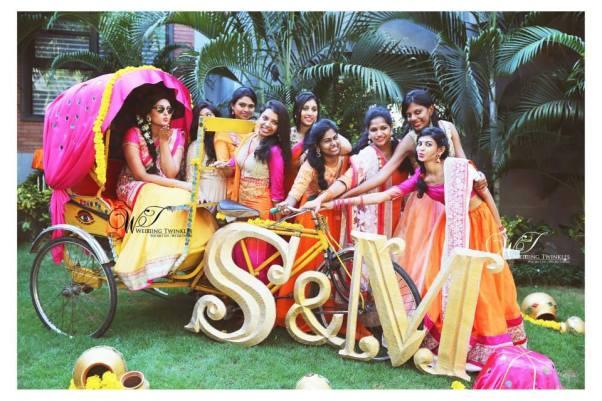 Brides and Bridesmaids posing