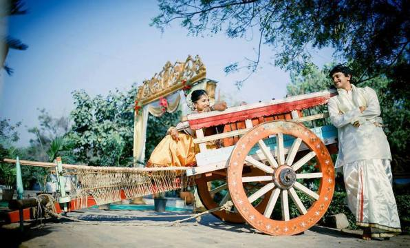 Photo shoot with bullock cart