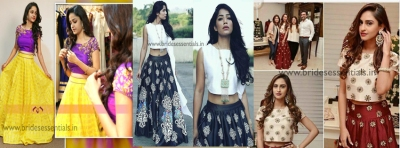 Crop top with skirt latest collections