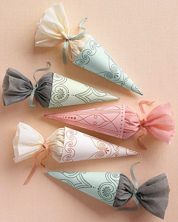 assorted sweets in cones