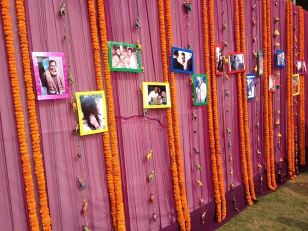 Marigold flowers and photographs decor