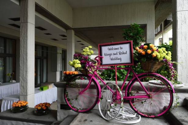 Coloured Bicycle for welcome decor