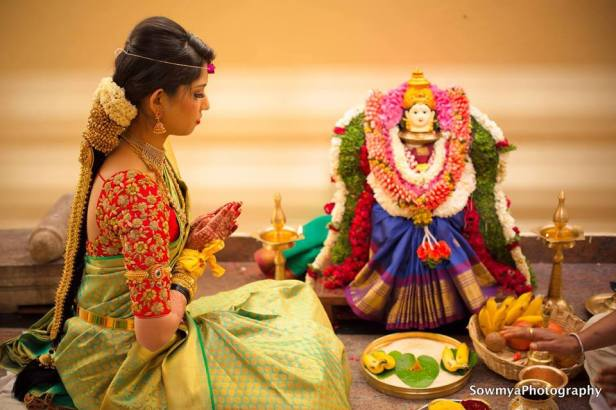 Bride in Gowri pooja by Sowmya
