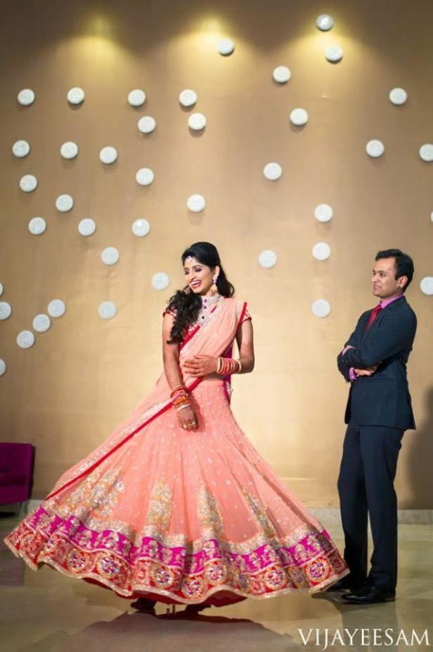 A Baby Pink Bridal lehenga by Label Sravani Rao