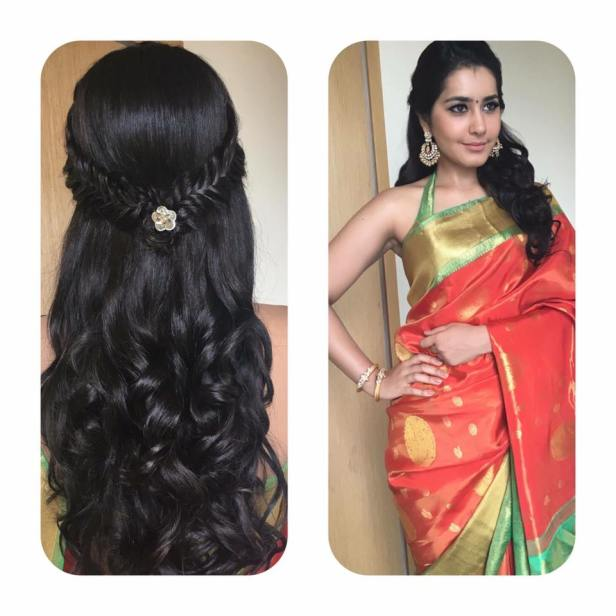 loose hair style for kanchivaram