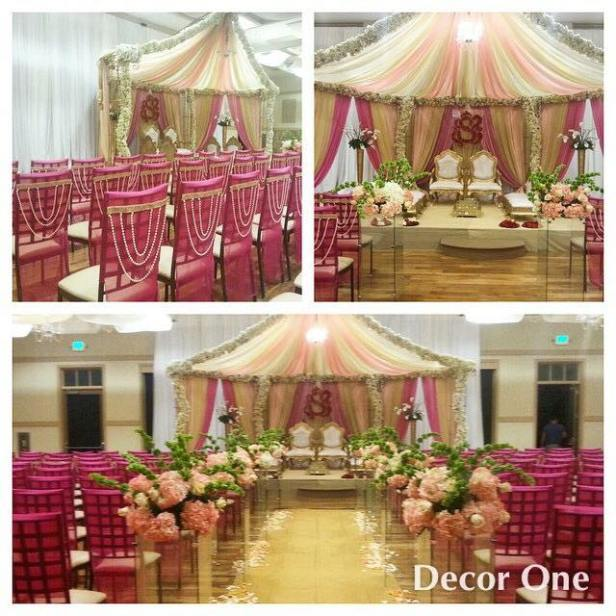Pink and white themed decor by Decor one