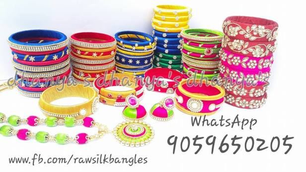 Variety of bangles from raw silk bangles