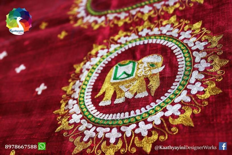 Gold thread work by Kaathyayani designer works