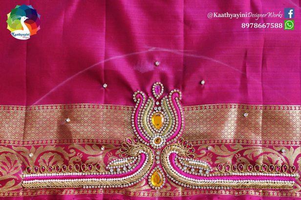 Zardosi detailing for bridal blouse