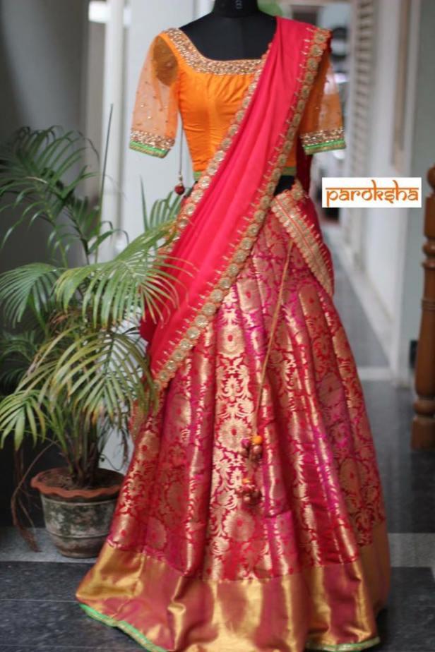 Lehanga with silk saree