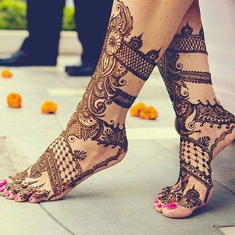 Ankle Mehendi Styles To Experiment Mehndi is a significant part of every bride's big day. Its now a fashion statement that results in a some beautiful profile and accessory shots for the bride.Here are a few designs to try out.If you are the bride this is your once in a lifetime chance to sit back and be pampered with some henna love, so don't let it go to waste.