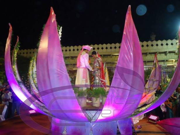 lotus flower entry for the bride and groom