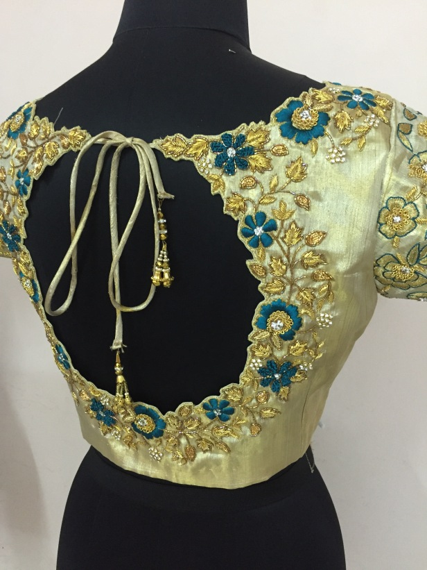 Heavy detail blouse for a blue Kanchivaram