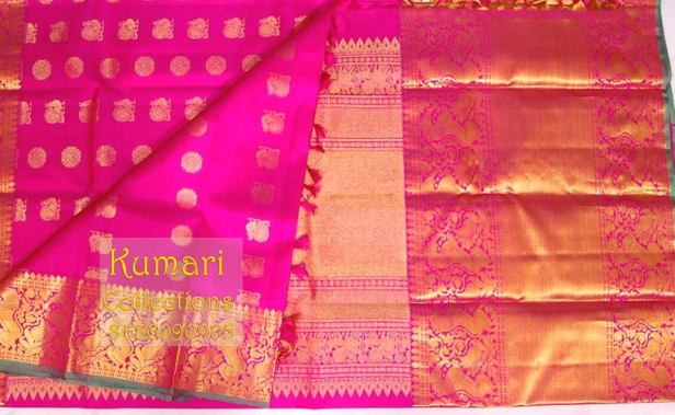 Rani pink Monotone Long border Kanchivaram