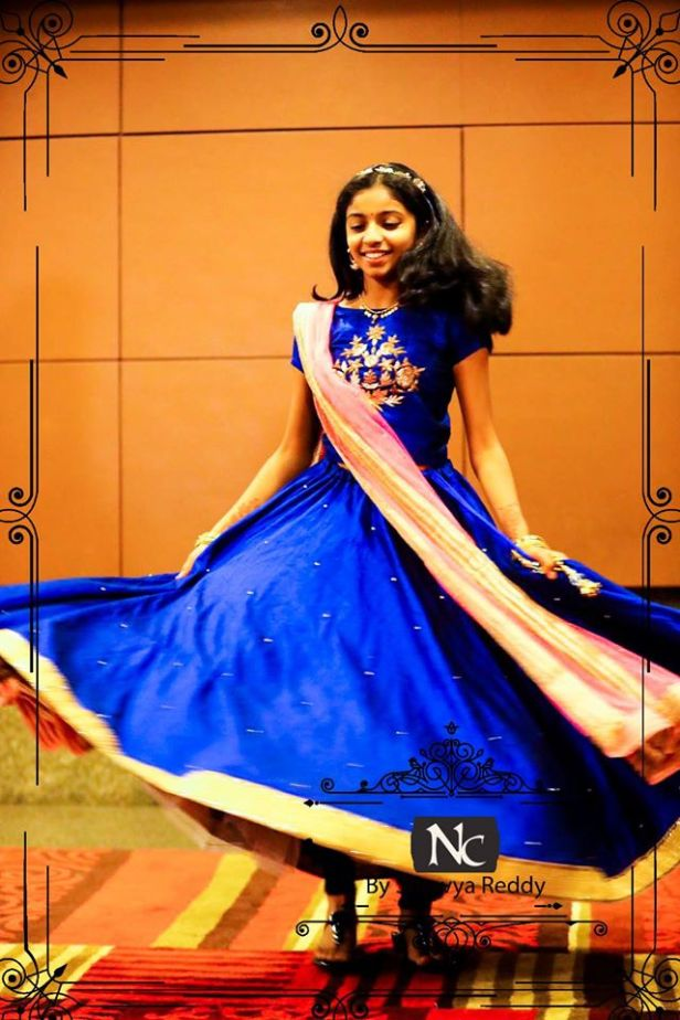 Royal blue lehenaga from Nishras