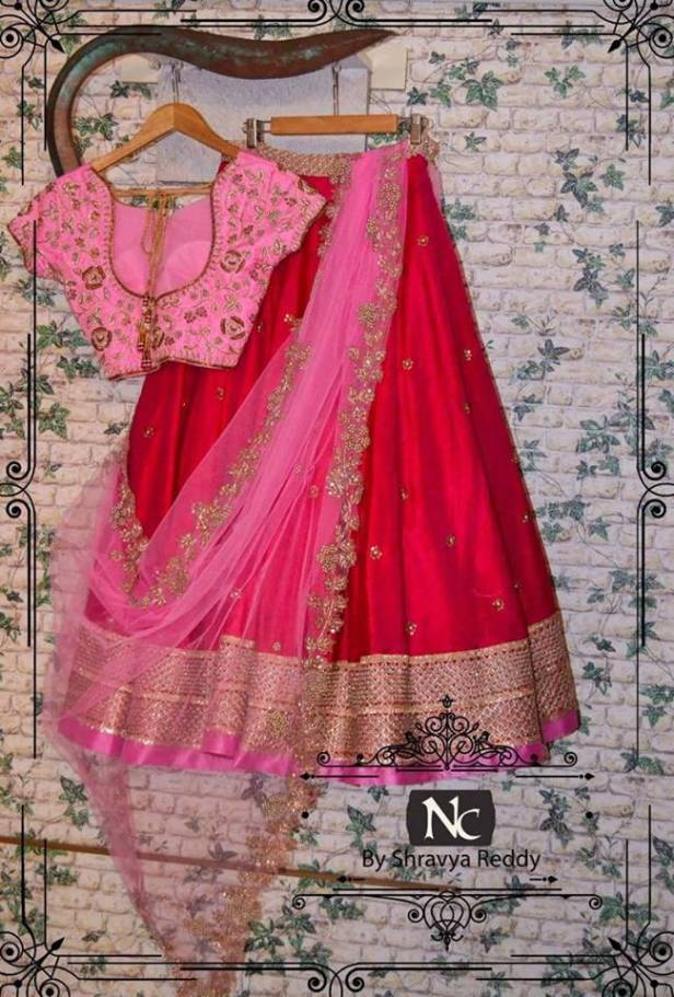 Red and pink bridal lehanga