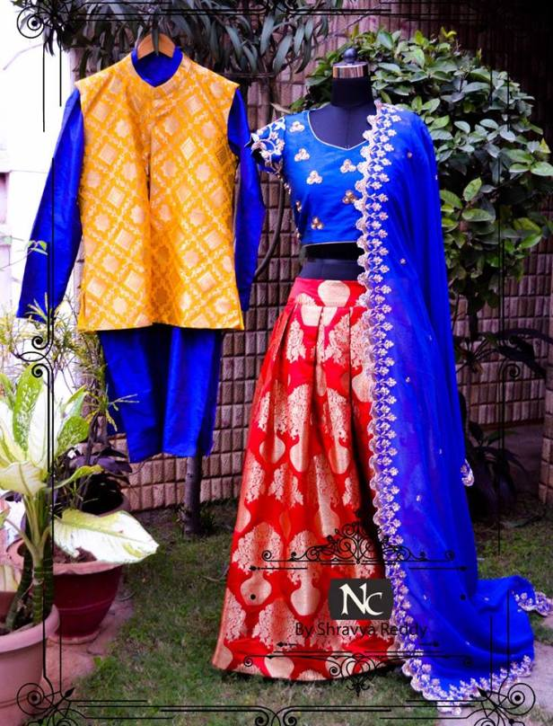 Red and royal blue lehenga