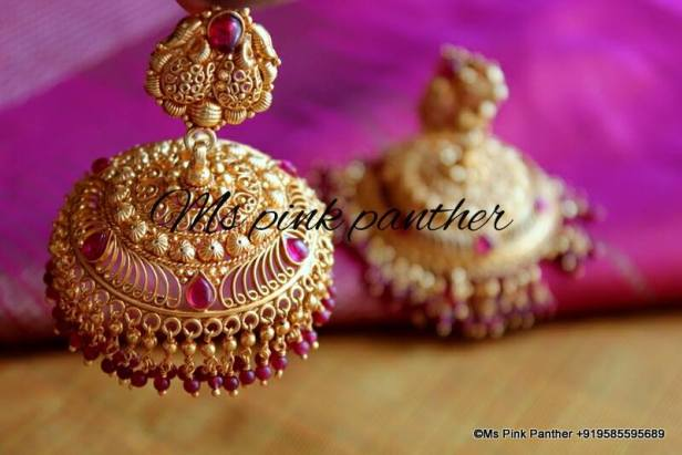 Temple Jhumka by MS Pink Panther Jewellery