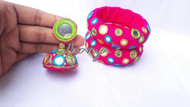 mirror work bangles with matching jhumkas