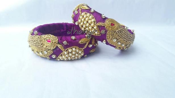 Heavy Zardosi Bangles to match the saree