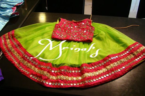 Parrot green skirt with pink crop top