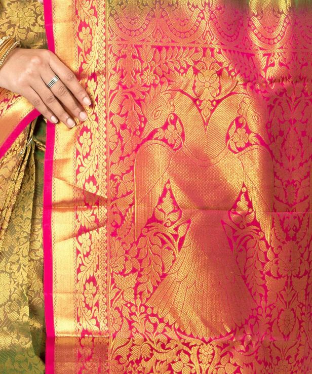 The Gandaberunda palla for a Kanchivaram Saree