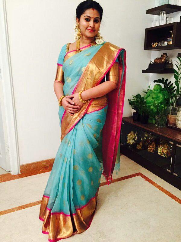 Sneha in a pastel Organza saree