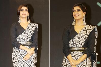 Samantha at WEAVE wearing an Ikkat Saree