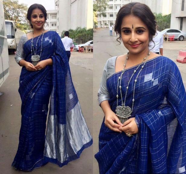 Vidya Balan nailing the look with an Ink blue linen saree