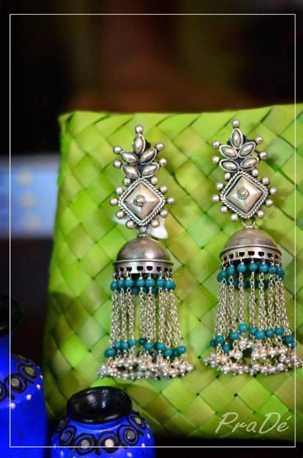 Turquoise Jhumkas from PraDe