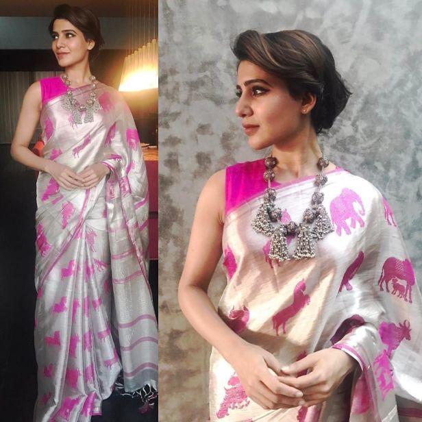 The Motif saree worn by Samantha