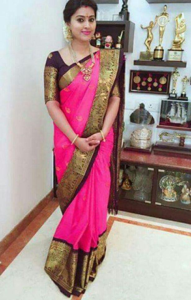 Sneha dressed in a vintage drape for Diwali