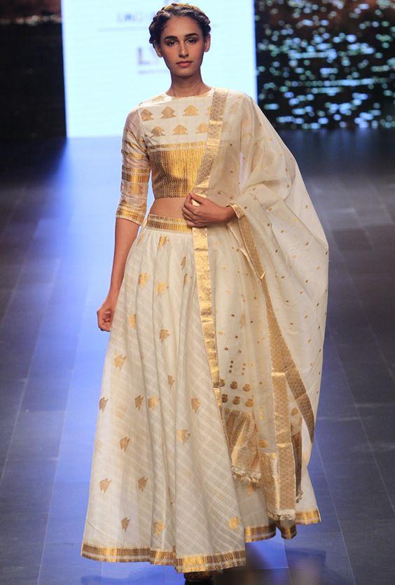 The designer version of a Kerala Half saree