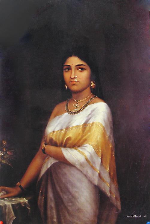 A Ravi Varma painting of a women in Kerala saree