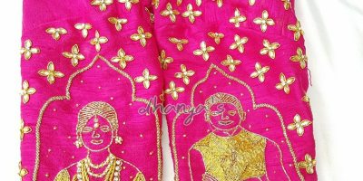 Couple portrait wedding blouse from Dhanya's