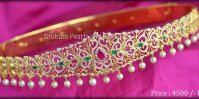 Intricate CZ vaddanam from Shubham Pearls